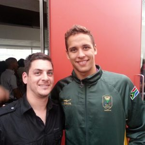 Unnnbelievable! With Chad le Clos after he pipped Michael Phelps to the Olympic gold, London 2012