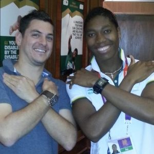 Meeting the great Caster Semenya after her Olympic silver medal, London 2012