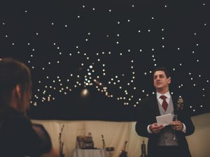 Building confidence in public speaking, at a friend's wedding in London, 2015